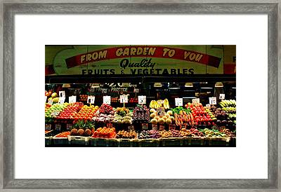 Pikes Market Fruit Stand Framed Print by Benjamin Yeager
