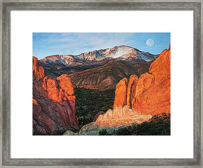 Framed Print featuring the painting Pikes Peak by Aaron Spong