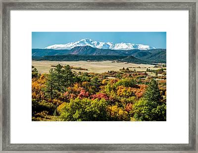 Pikes Peak Over Scrub Oak Framed Print