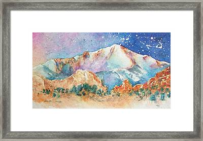 Pikes Peak Over The Garden Of The Gods Framed Print