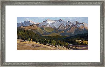 Pikes Peak Panoramic Framed Print by Mary Giacomini