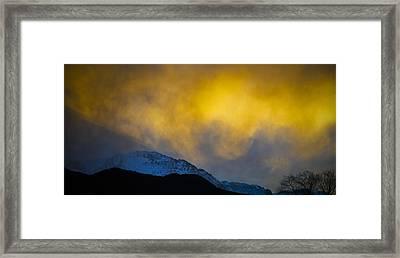 Pike's Peak Snow At Sunset Framed Print