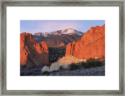Pikes Peak Sunrise Framed Print