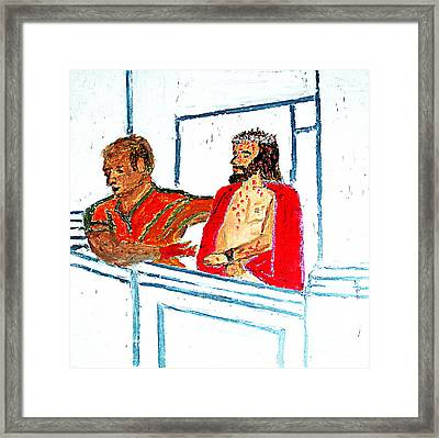 Pilate With Blood On His Hands And Jesus Behold The Man 1 Framed Print by Richard W Linford