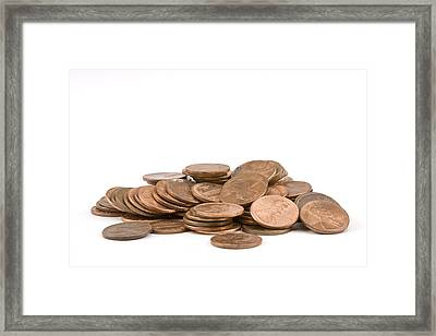 Pile Of American Pennies On White Background Framed Print