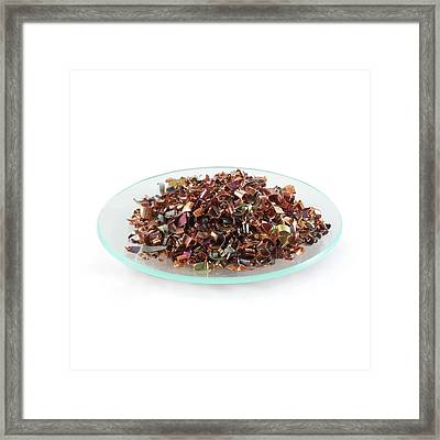 Pile Of Copper Turnings Framed Print by Science Photo Library