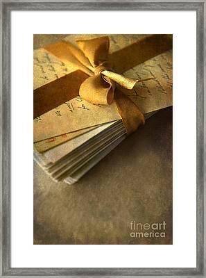 Pile Of Letters With Golden Ribbon Framed Print by Jaroslaw Blaminsky