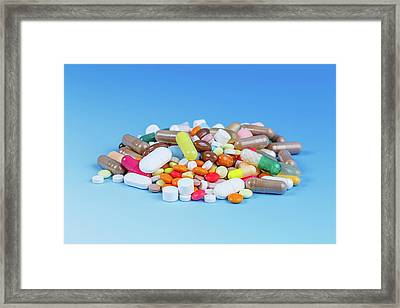 Pile Of Pills Framed Print