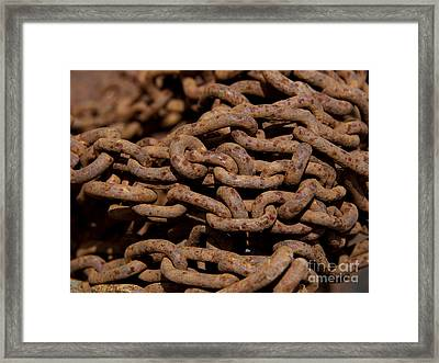 Pile Of Rusty Chains Framed Print by Bernard Jaubert