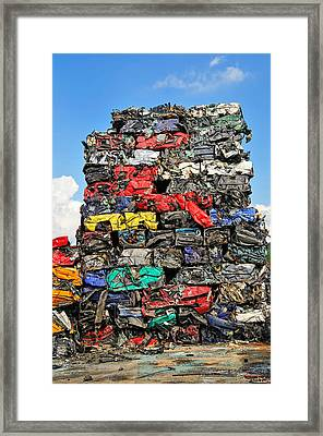 Pile Of Scrap Cars On A Wrecking Yard Framed Print