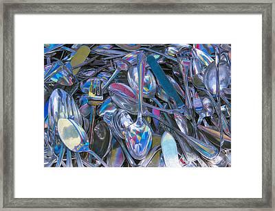 Pile Of Silverware Framed Print by Garry Gay