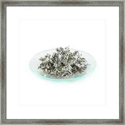 Pile Of Tin Granules Framed Print by Science Photo Library