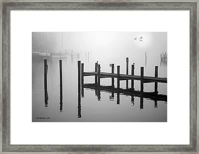 Pilings In The Fog Framed Print by Brian Wallace