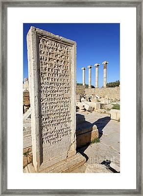Pillar At The Old Forum At Leptis Magna In Libya Framed Print