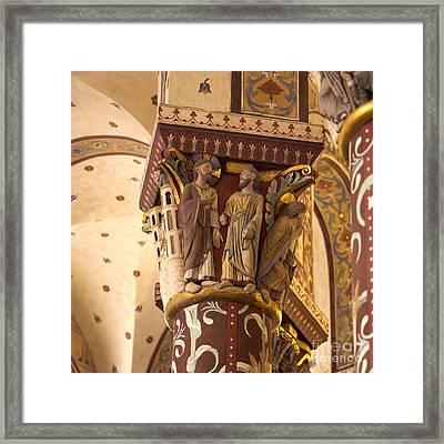 Pillar In The Roman Church Of Saint-austremoine D'issoire. Auvergne. France. Europe Framed Print by Bernard Jaubert