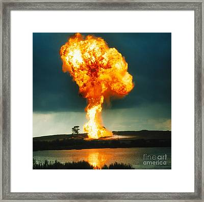 Pillar Of Fire Framed Print by Crown Copyright/Health & Safety Laboratory