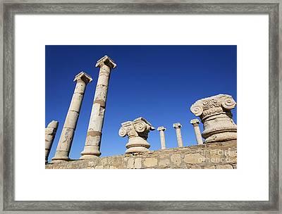 Pillars At The Old Forum At Leptis Magna In Libya Framed Print