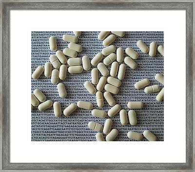 Pills And Dna Framed Print