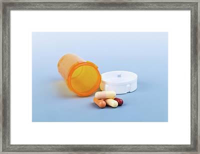 Pills And Pill Bottle Framed Print by Wladimir Bulgar