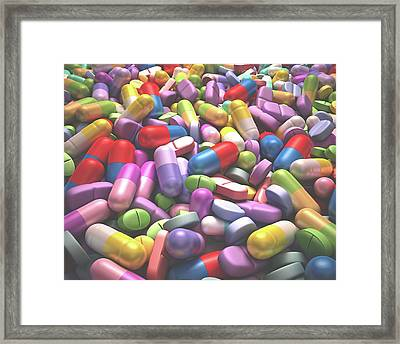 Pills And Tablets Framed Print by Ktsdesign