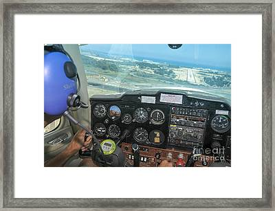 Pilot In Cessna Cockpit Framed Print by Shay Levy