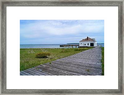 Pilot Island Us Coast Guard Lifesaving Staionboathouse Of Door County Framed Print by Carol Toepke