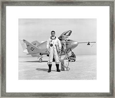 Pilot Major Cecil Powell And The X-24a Framed Print by Gary Bodnar