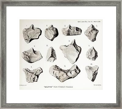 Piltdown Man Stone Tools Framed Print