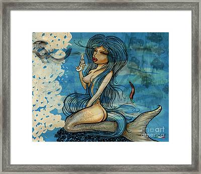 Pin Up - Siren Lowar Ocean Framed Print by Domenico Condello