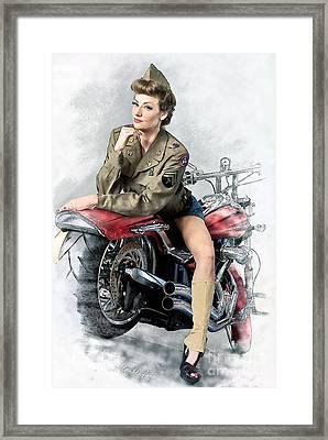 Pin-up Biker  Framed Print