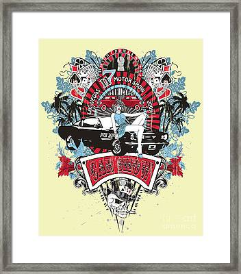 Pin Up Girl - Car Show No.02 Framed Print by Fat Line