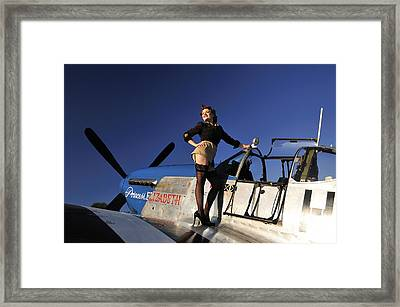 Pin-up Girl Standing On The Wing Framed Print by Christian Kieffer
