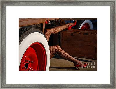Pin Up Legs In Red Heels  Framed Print