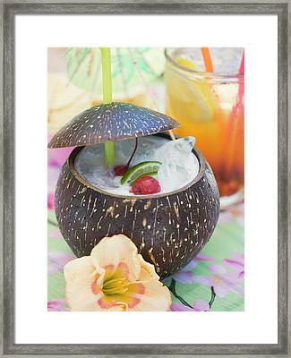 Pina Colada With Cherries And Lime Framed Print