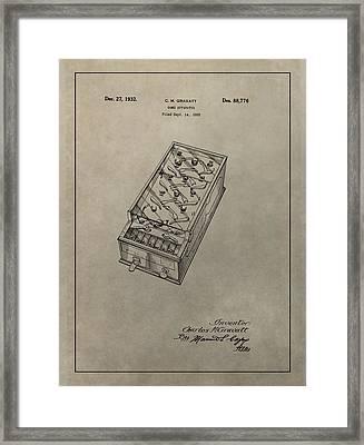 Pinball Machine Patent Framed Print