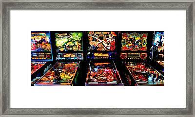 Pinball Panorama Framed Print by Benjamin Yeager