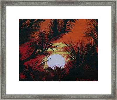 Pine Branch Silhouette Framed Print by Sharon Duguay