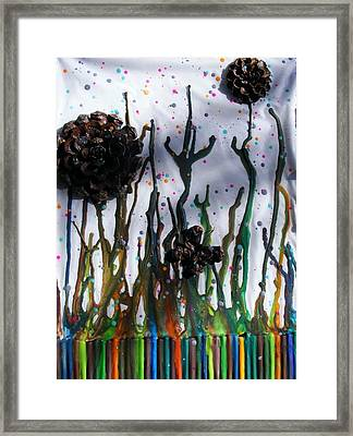 Pine Cone Flower And Melted Crayon Stems Framed Print