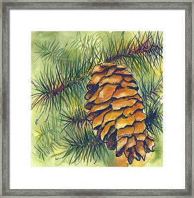 Framed Print featuring the painting Pine Cone by Terry Banderas