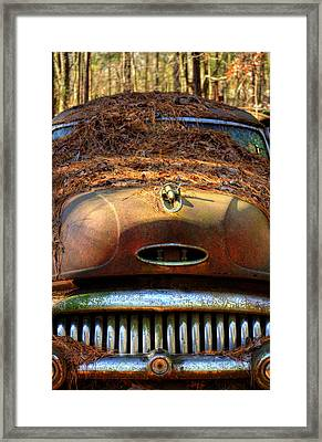 Pine Straw On Buick Framed Print by Greg Mimbs