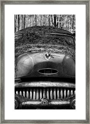 Pine Straw On Buick In Black And White Framed Print by Greg Mimbs