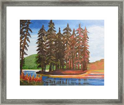 Framed Print featuring the painting Pine Tree Island by Diana Riukas