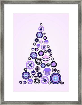 Pine Tree Ornaments - Purple Framed Print by Anastasiya Malakhova