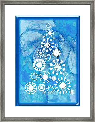 Pine Tree Snowflakes - Baby Blue Framed Print