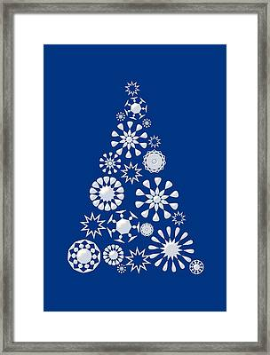 Pine Tree Snowflakes - Dark Blue Framed Print