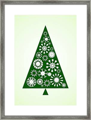 Pine Tree Snowflakes - Green Framed Print