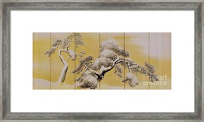 Pine Trees In Snow Framed Print by Pg Reproductions