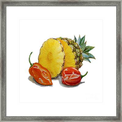 Pineapple And Habanero Peppers  Framed Print