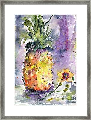 Pineapple And Orchids Framed Print