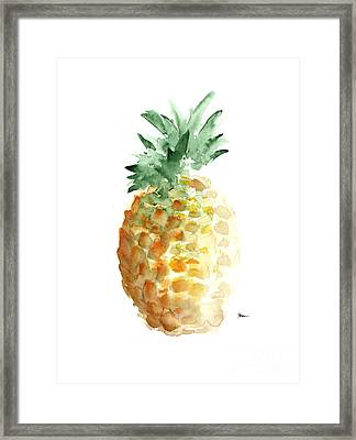 Pineapple Art Print Watercolor Painting Framed Print by Joanna Szmerdt